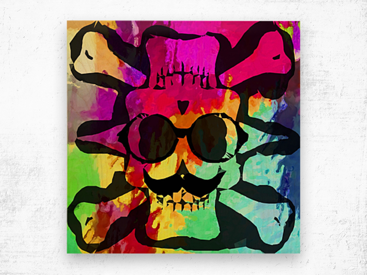 old vintage funny skull art portrait with painting abstract background in red purple yellow green Wood print