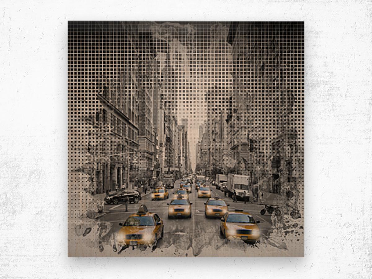 Graphic Art NEW YORK CITY 5th Avenue Traffic Wood print