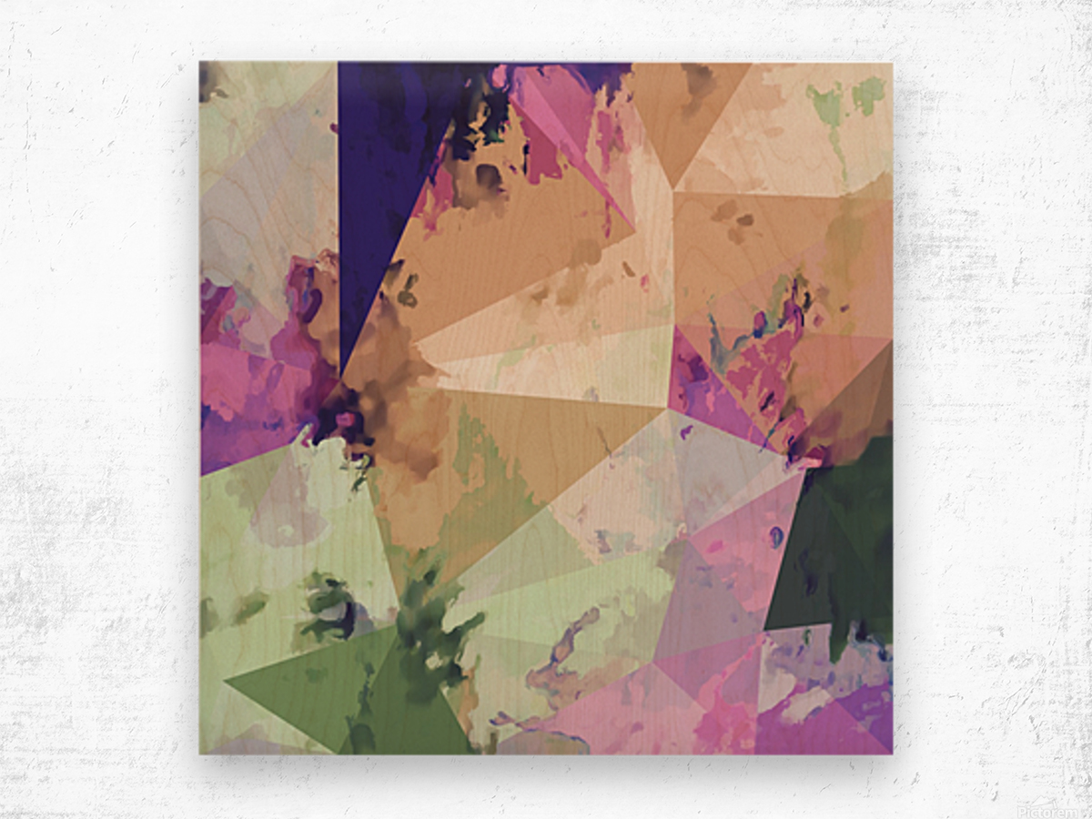 psychedelic geometric triangle polygon pattern abstract in pink green brown blue Wood print