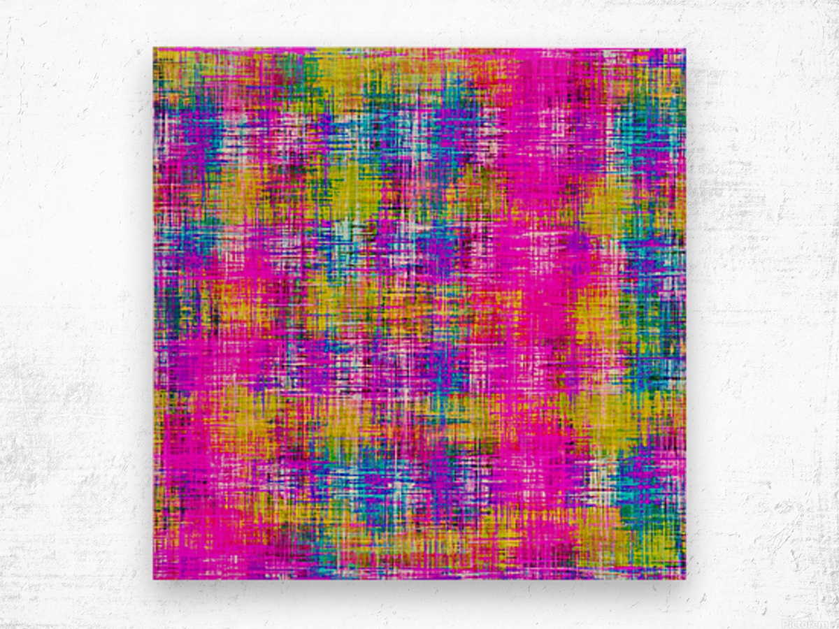 plaid pattern painting texture abstract background in pink purple blue yellow Wood print