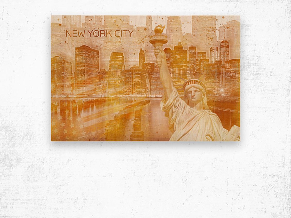 Graphic Art MANHATTAN Collage | golden Impression sur bois