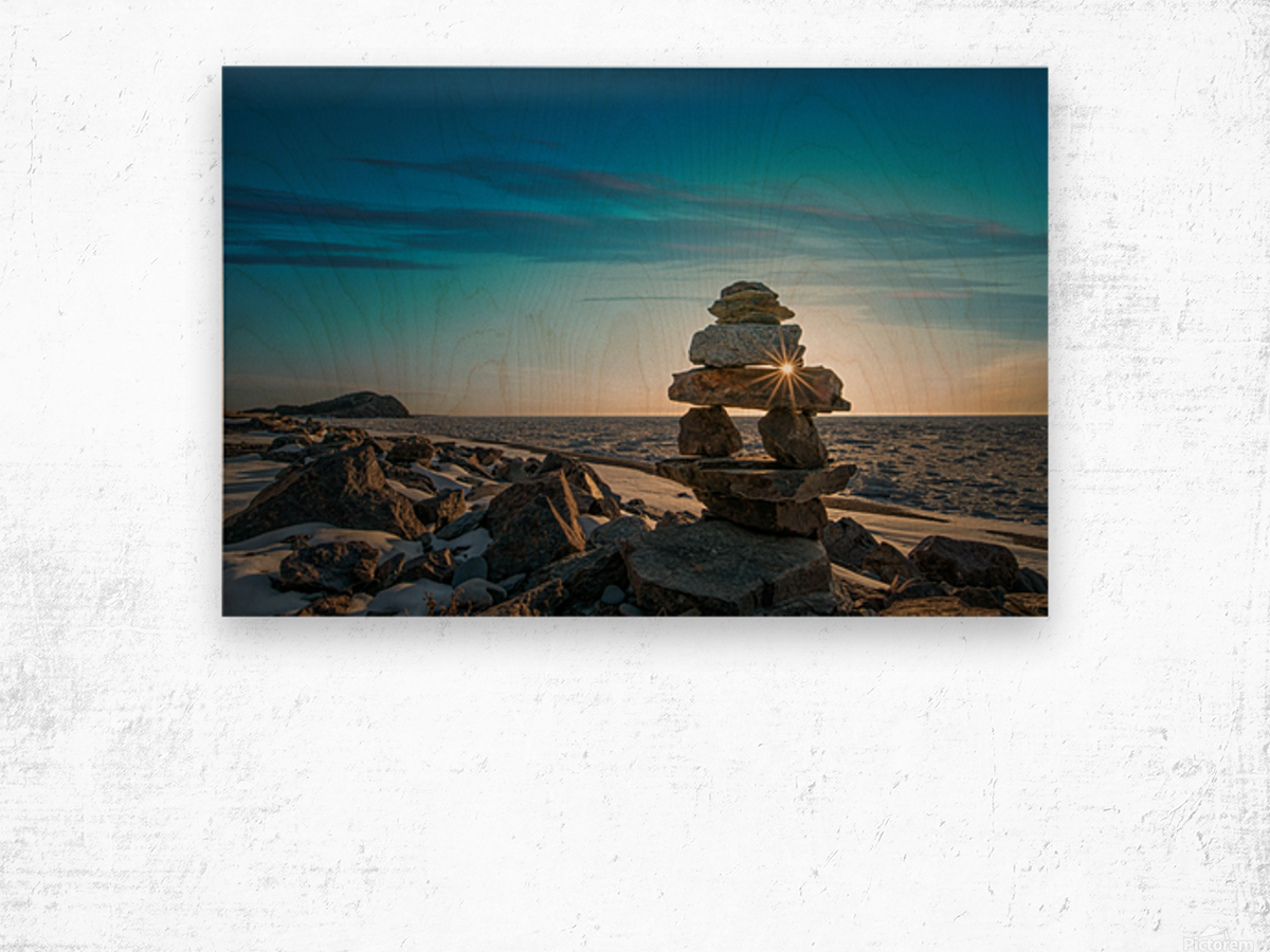 Inukshuk at la Bloc Wood print