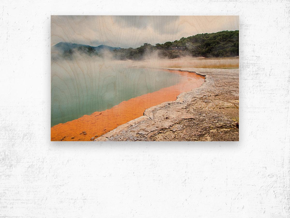 Rotorua Hot pool with steam New Zealand Wood print