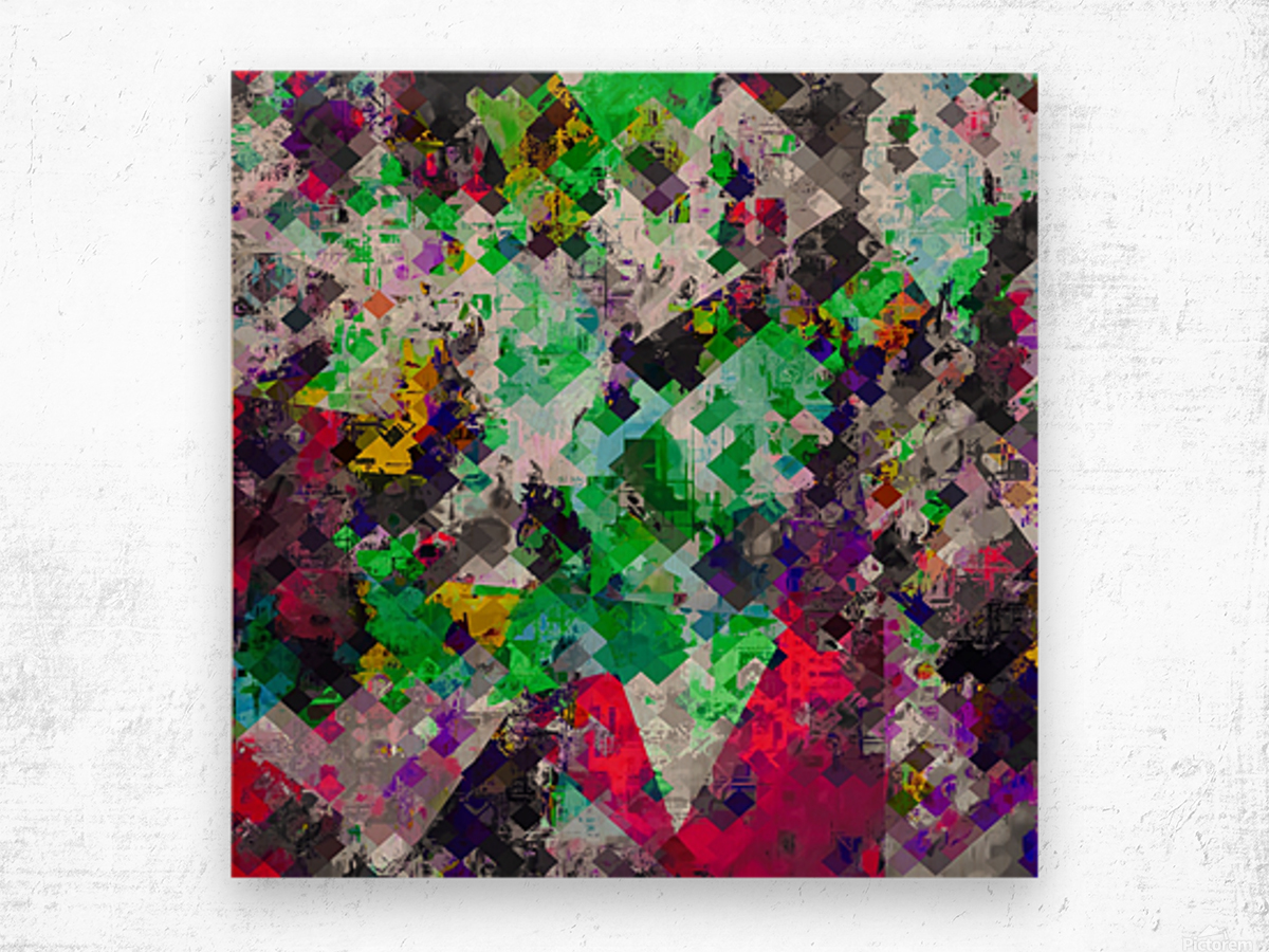 vintage psychedelic geometric square pixel pattern abstract in green red purple yellow Wood print