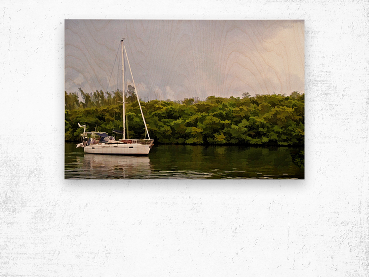 On Quiet Waters Wood print