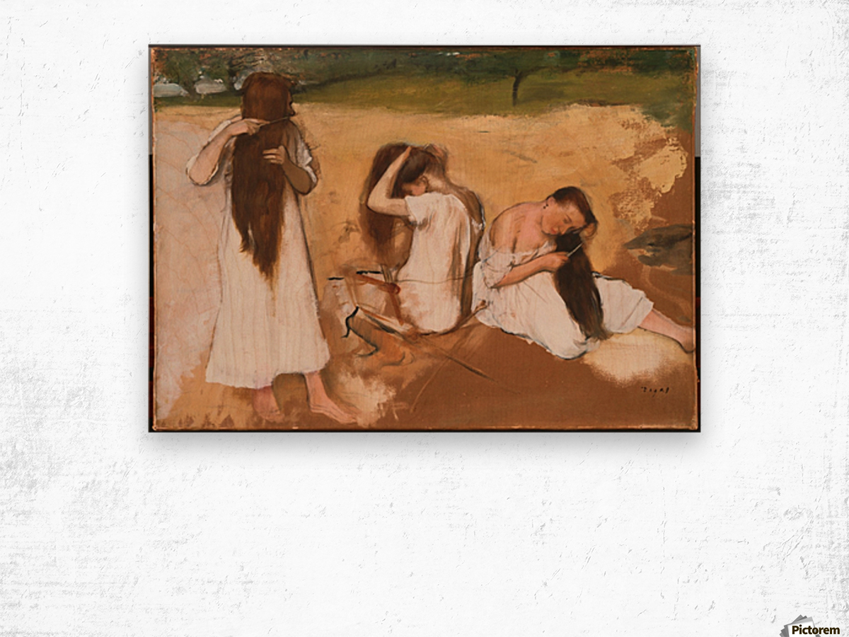 Women Combing Their Hair Wood print
