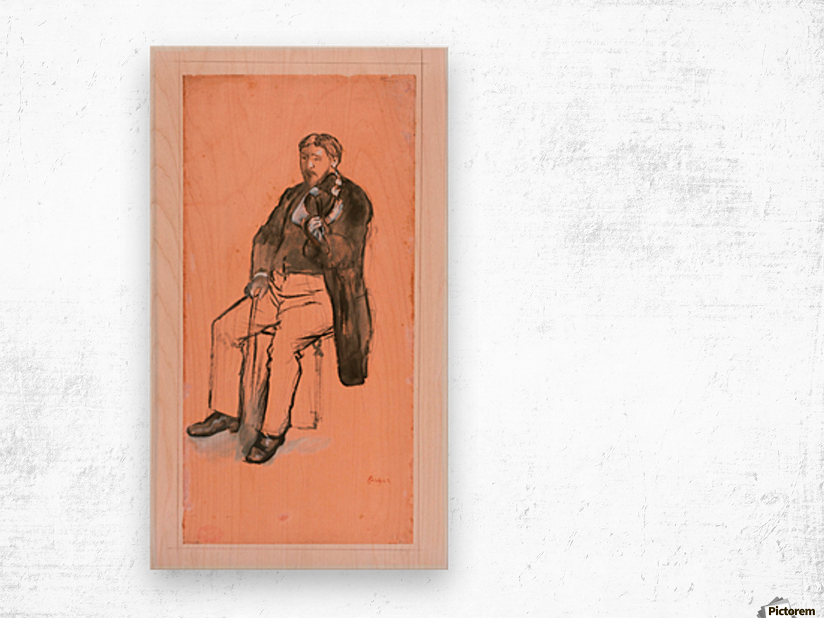 Seated Violin Player Wood print