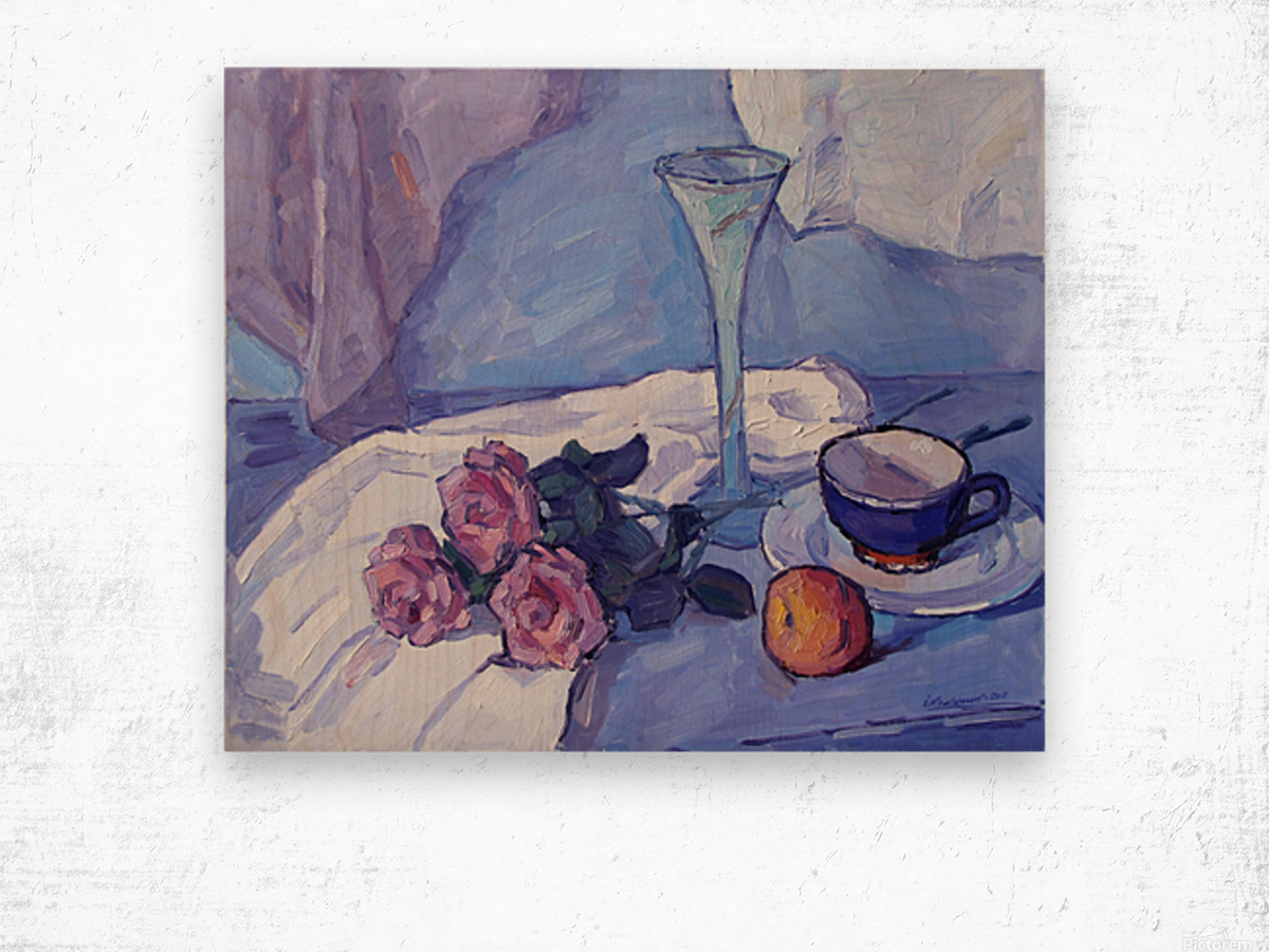 Still Life with Purple Roses Wood print