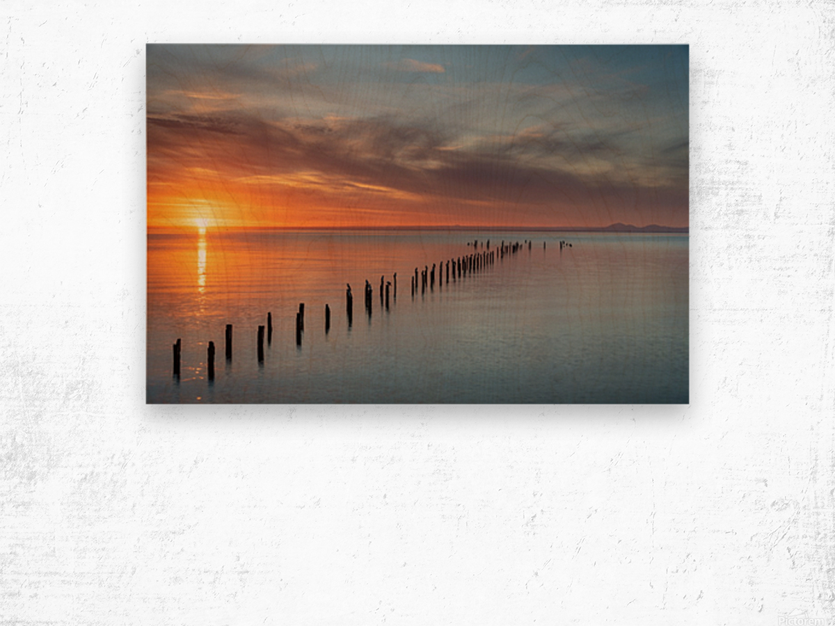 Sunset Pier Wood print