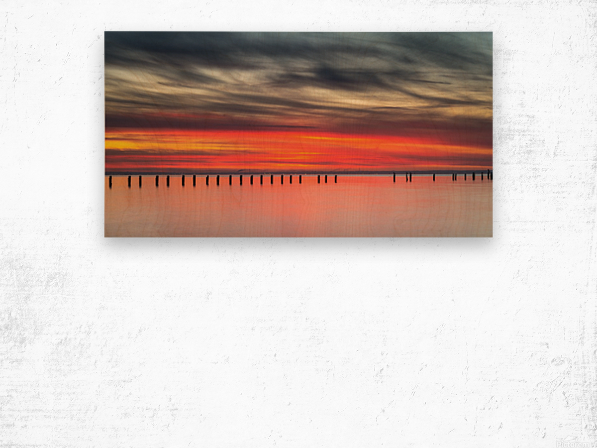 Striking Sunset at Clifton Springs Wood print