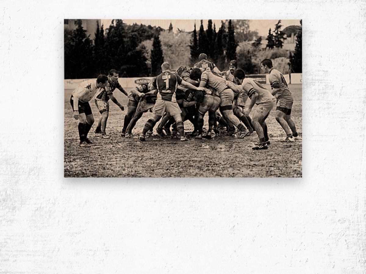 Rugby Mêlée Wood print