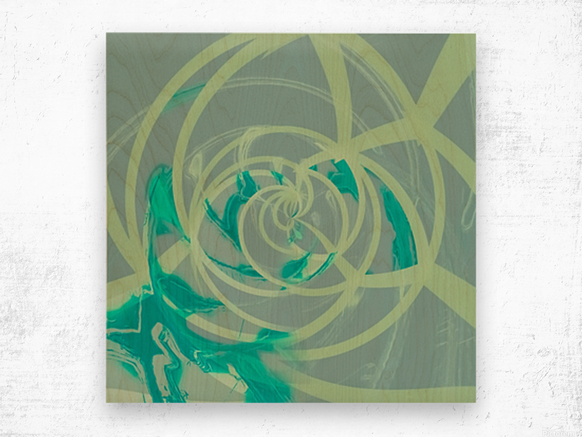 spiral line pattern painting texture abstract in blue green Wood print