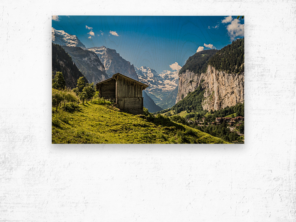 Hut in the valley Wood print