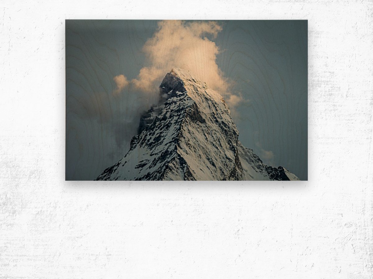 Matterhorn Glow Blue Wood print