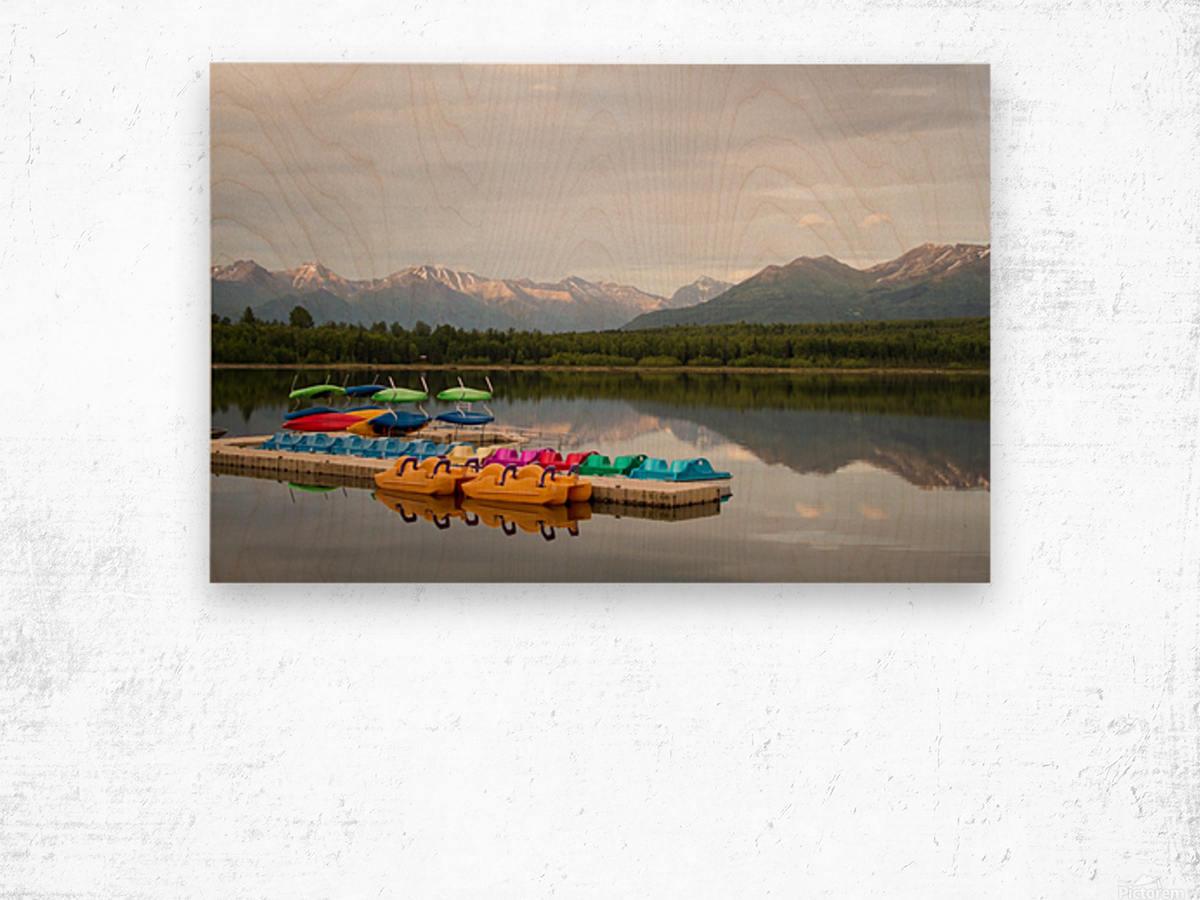 Alaska Lake and Sporting Impression sur bois