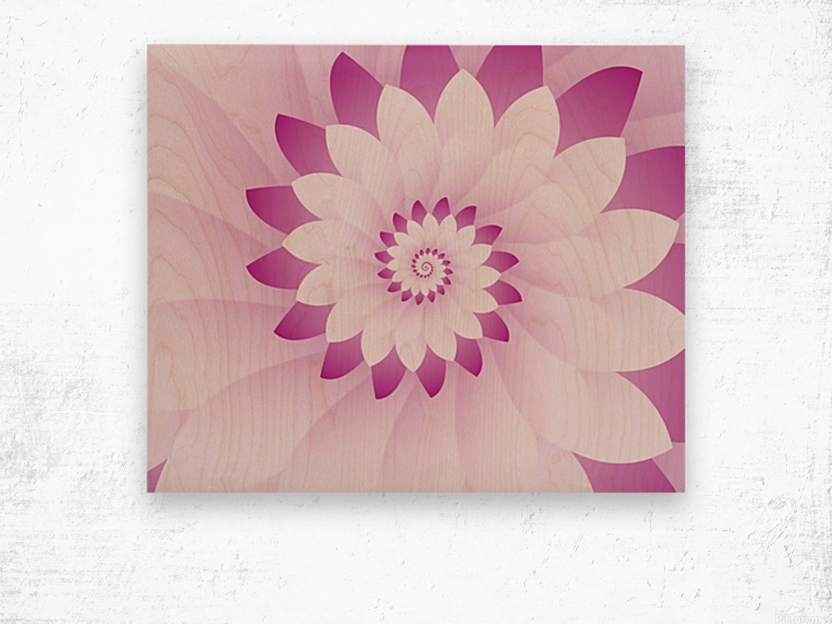 Abstract Pink & White Floral Design Art Wood print
