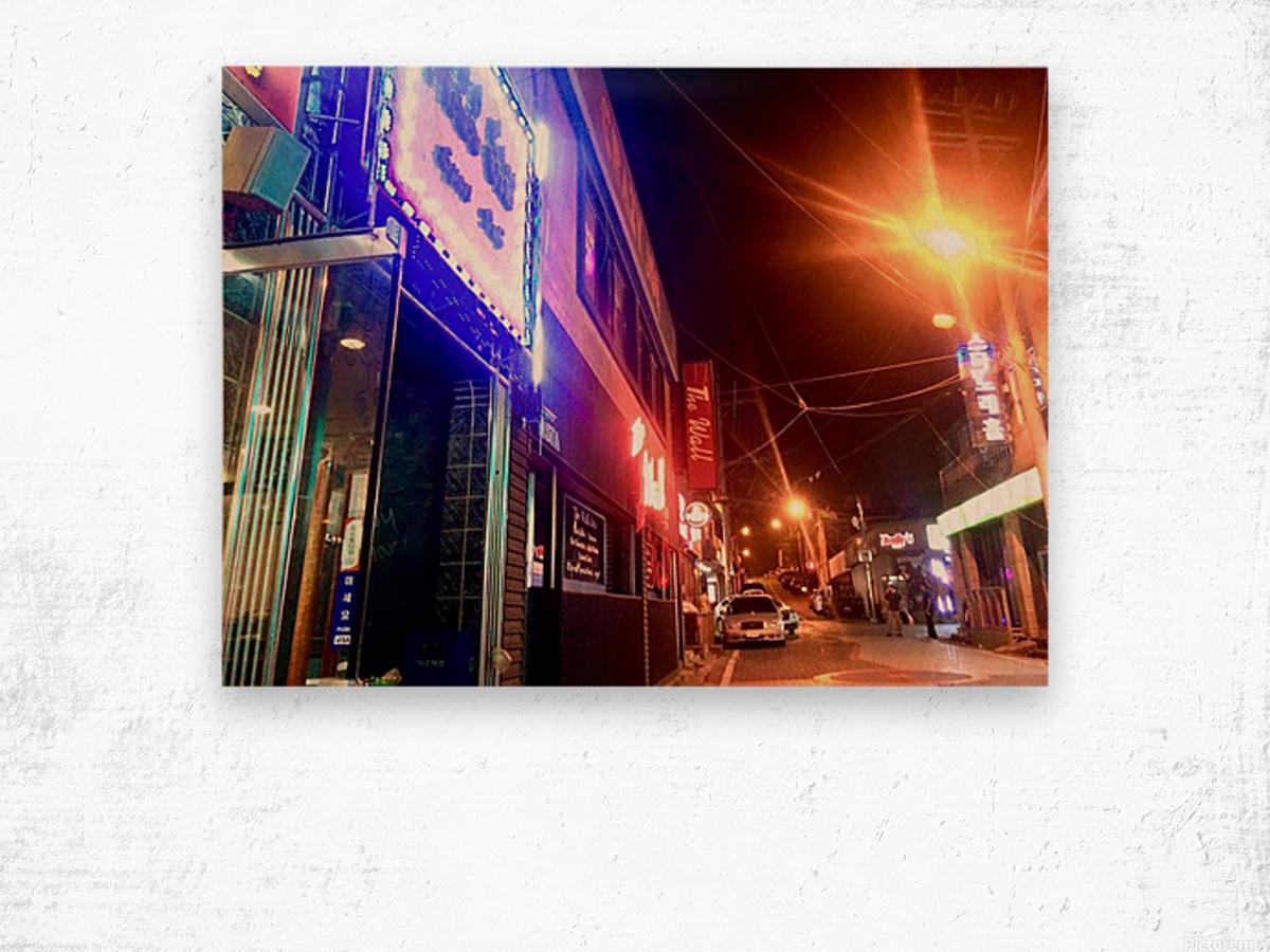 Korean Street at Night Wood print