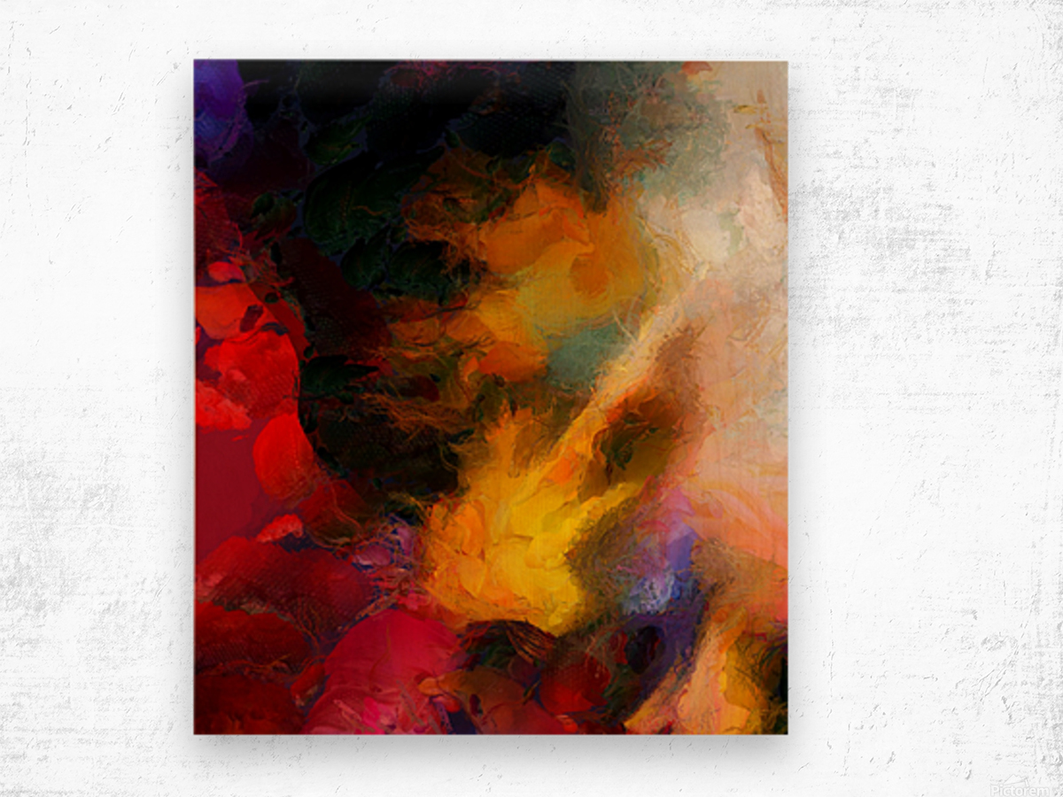 Colorful oil on canvas Wood print