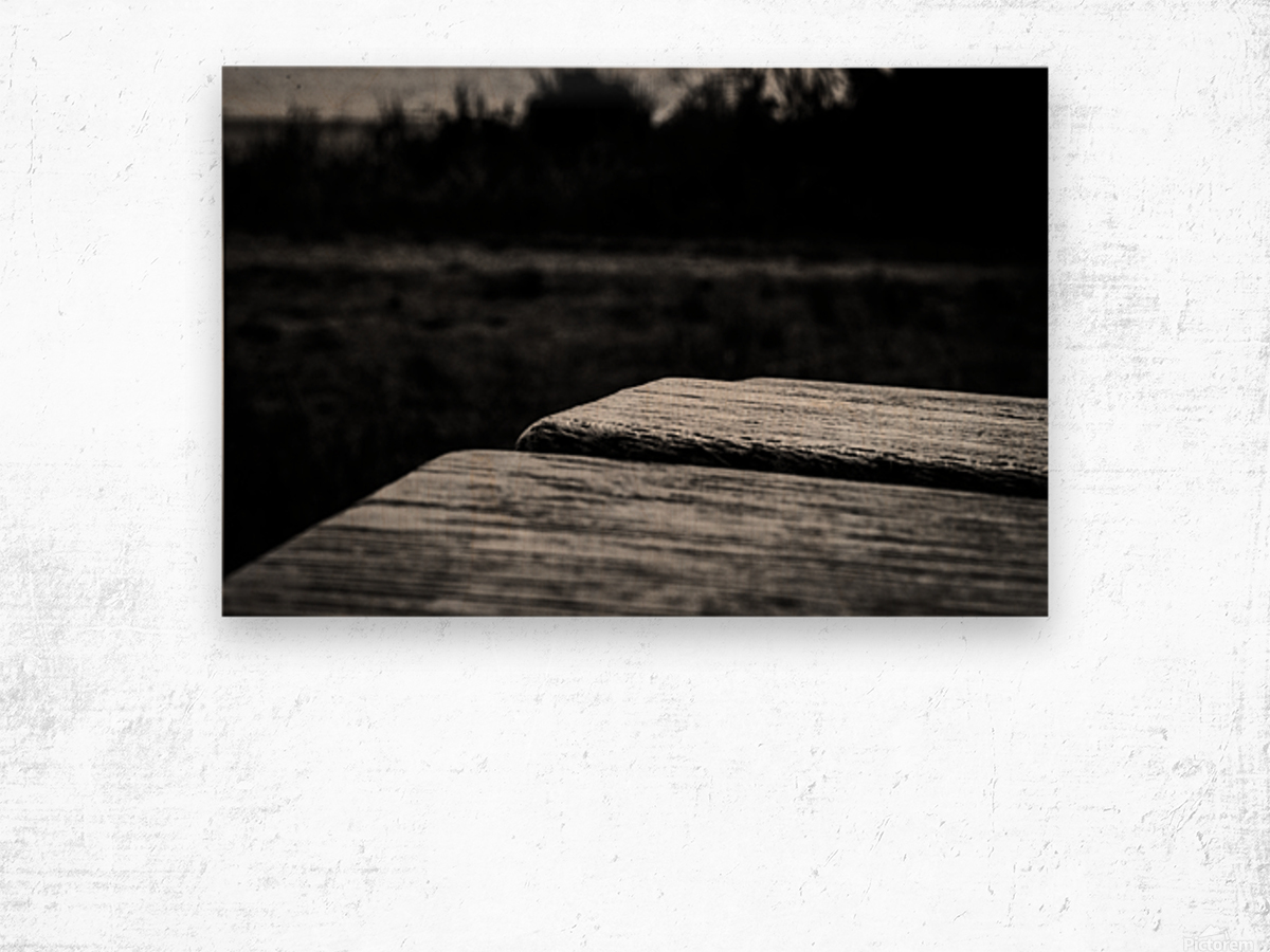Wooden Bench At The Sea Wood print