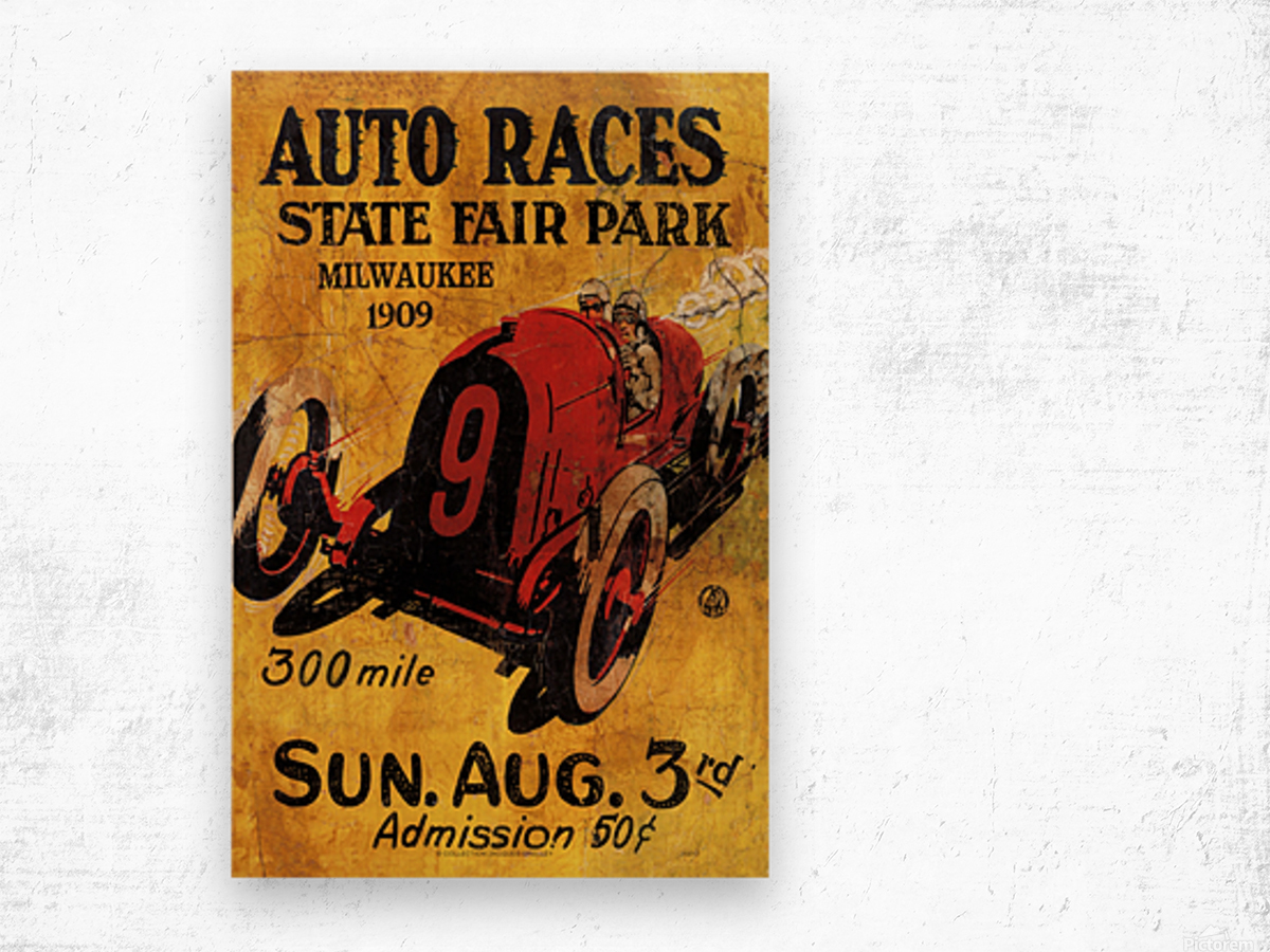 Milwaukee 300 Mile Auto Races State Fair Park 1909 Wood print