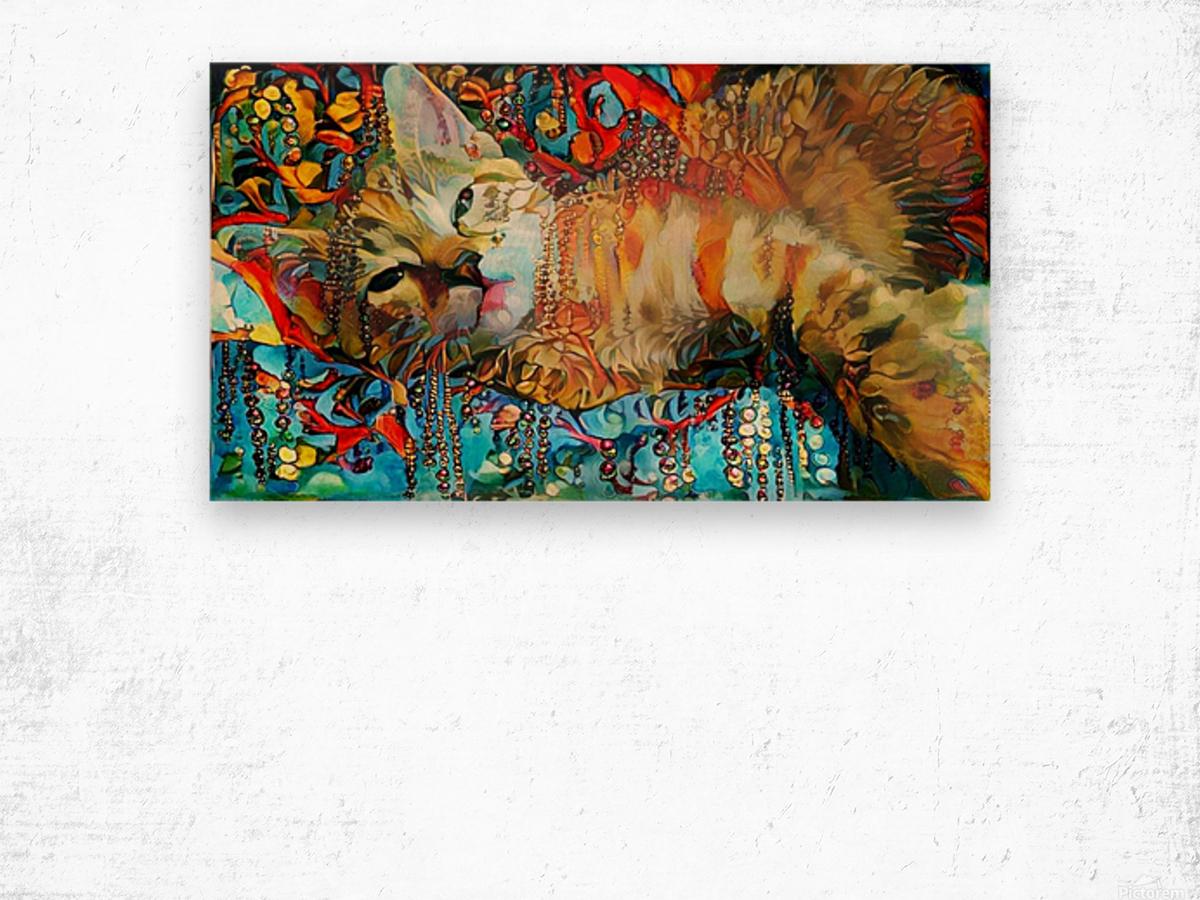 Lying Cat Wood print