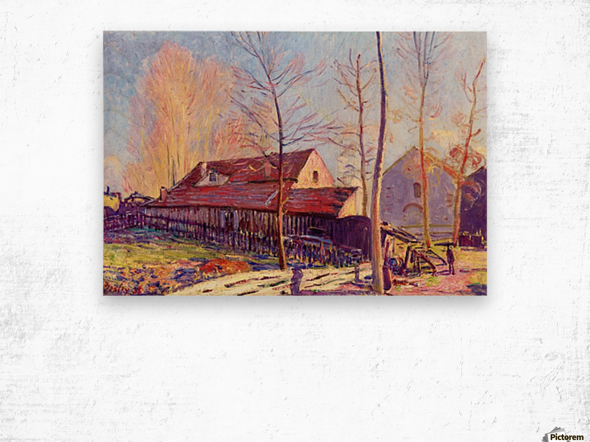 The Mills of Moret, Frost, Evening Effect Wood print