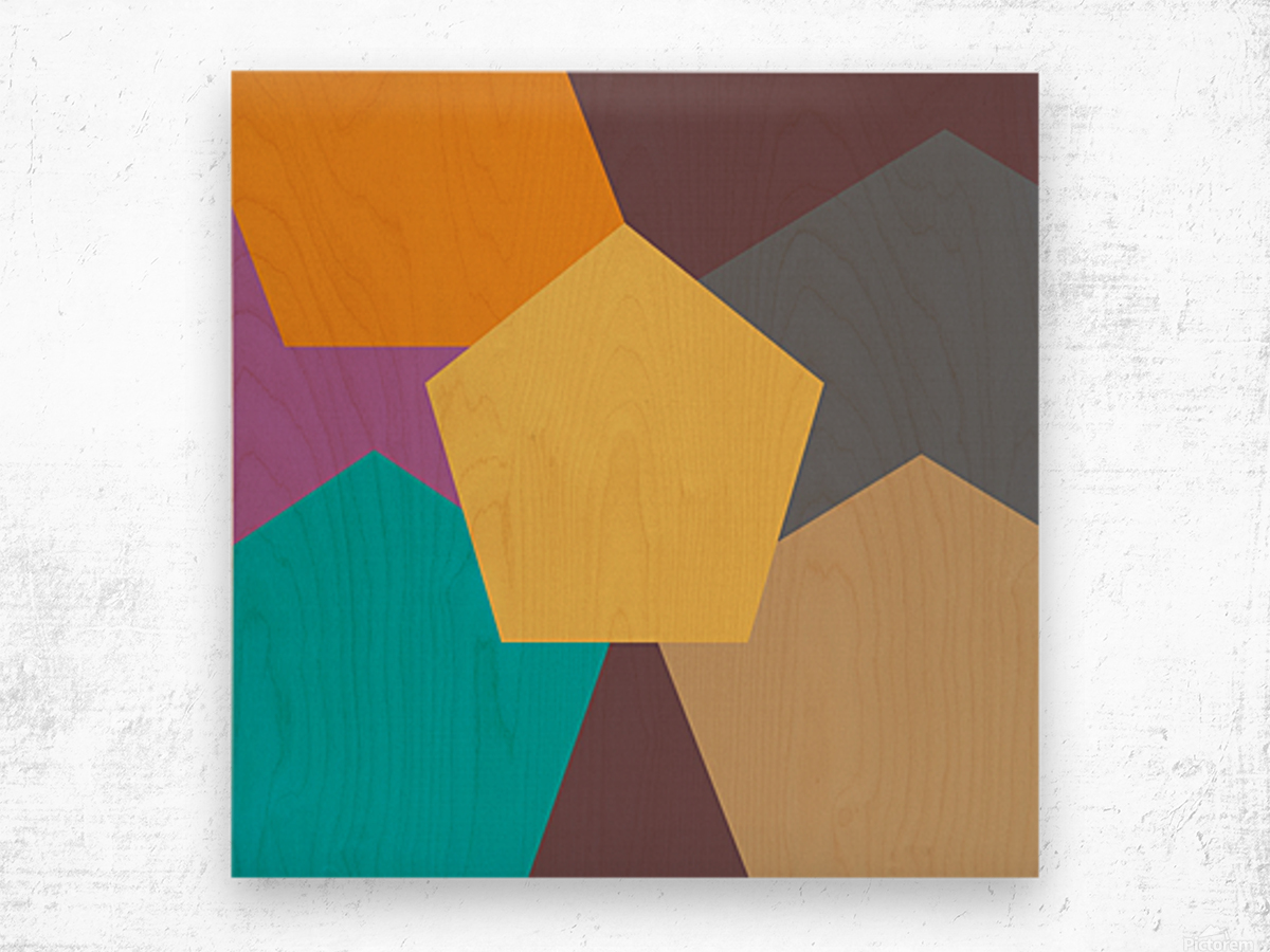 COLORFUL HEXAGON Pattern Wood print