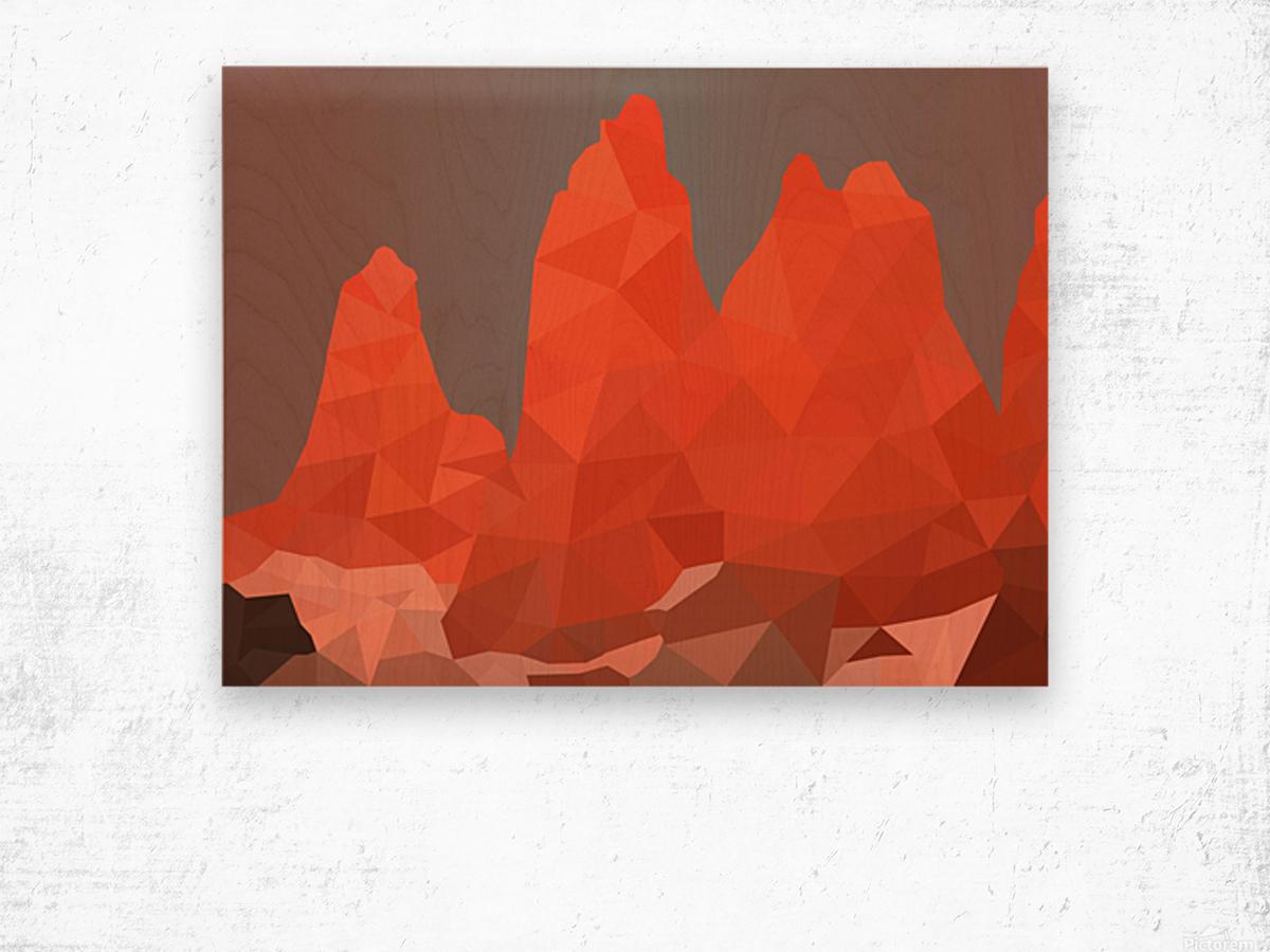 Torres del Paine National Park Low Poly Art  Impression sur bois