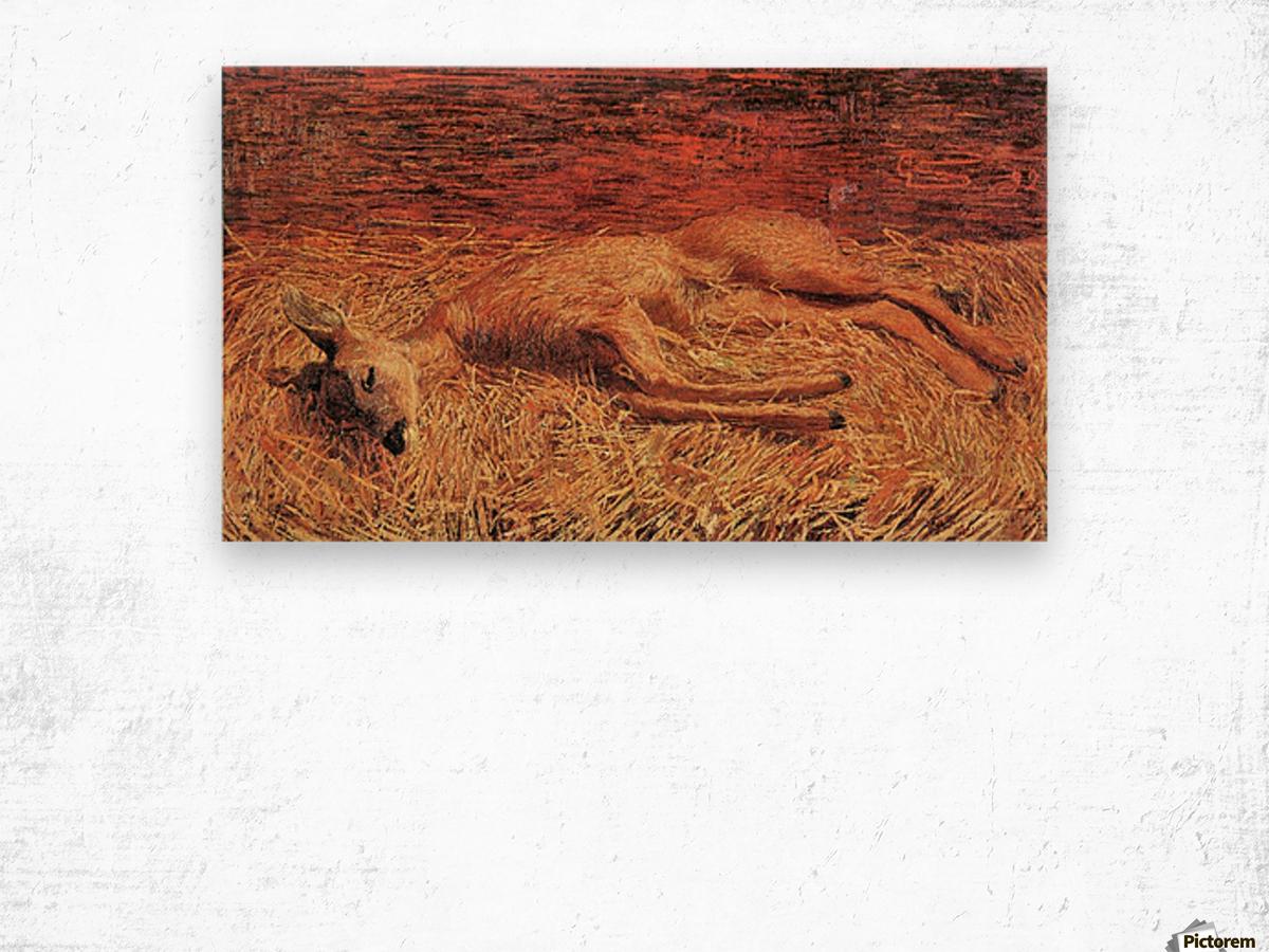Dead deer by Albin Egger-Lienz Wood print