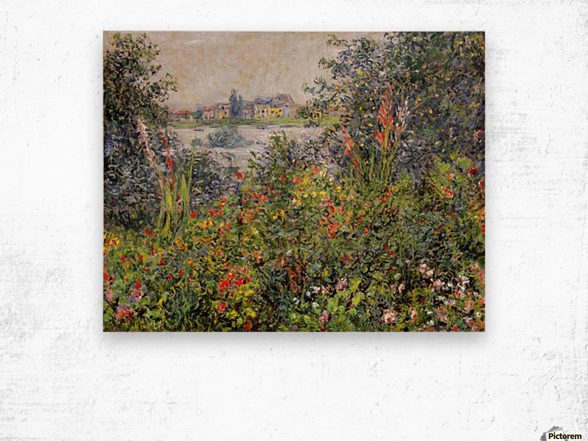 Flowers at Vetheuil Wood print