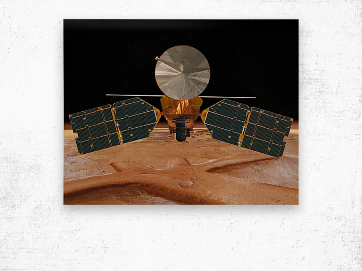 Artists concept of the Mars Reconnaissance Orbiter. Wood print