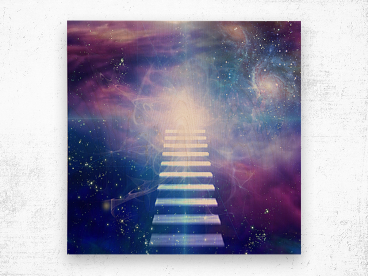 Steps up into cosmos Wood print