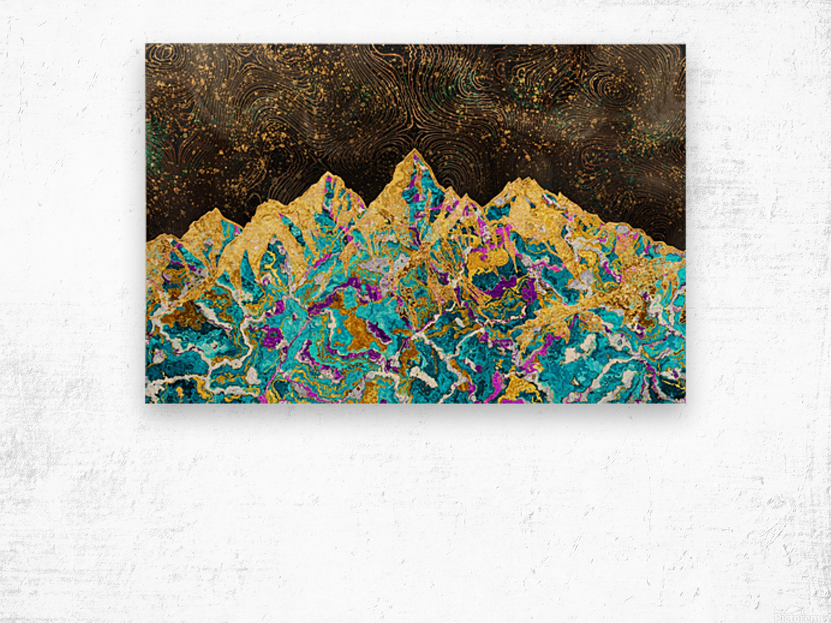 Gold Turquoise Mountain - Illustration I Wood print