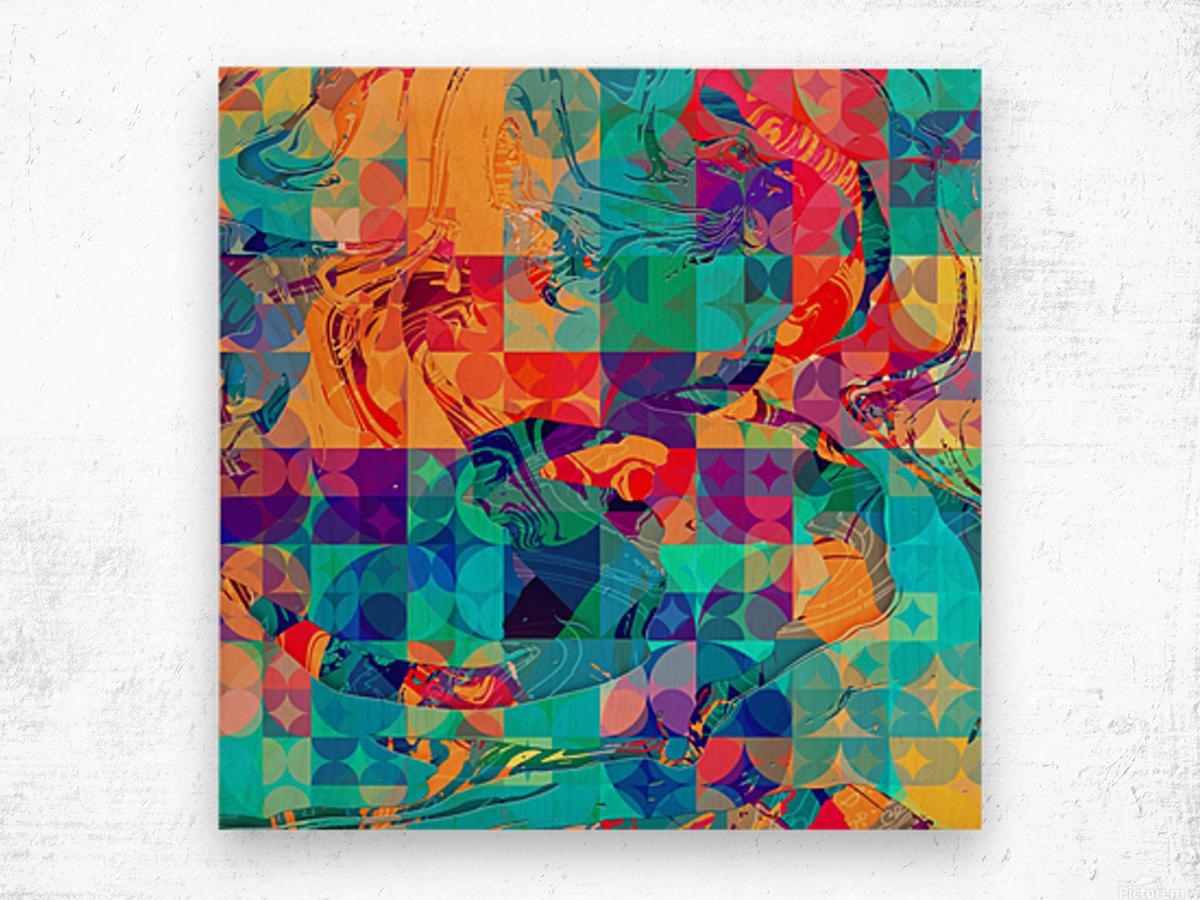 Geometric X Wood print