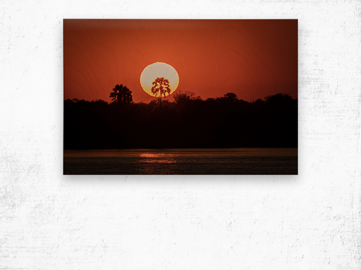 Sunset of Zimbabwe Wood print