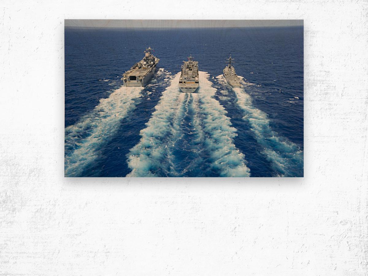 USS Peleliu and USS Spruance conduct a replenishment at sea with USNS Rainier. Wood print