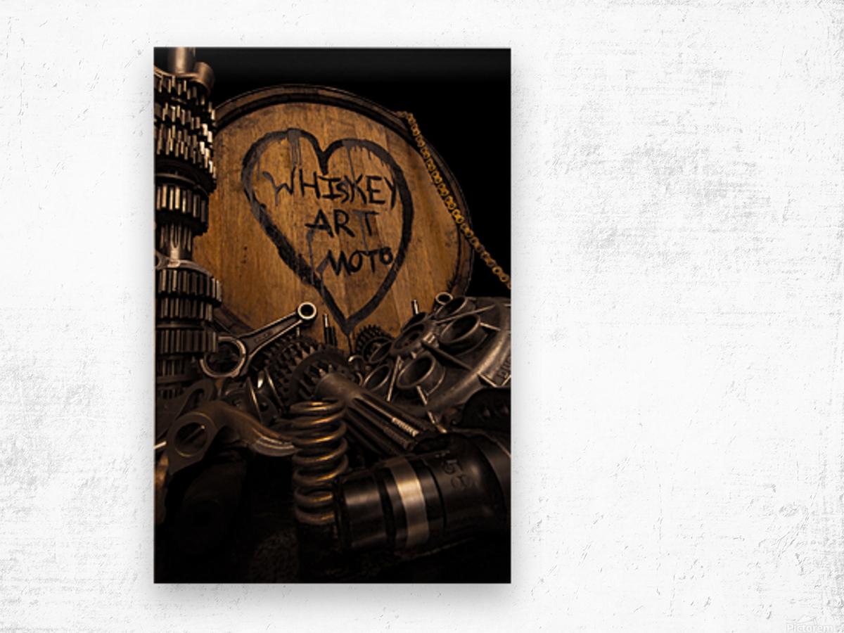 Whiskey Art Moto Wood print