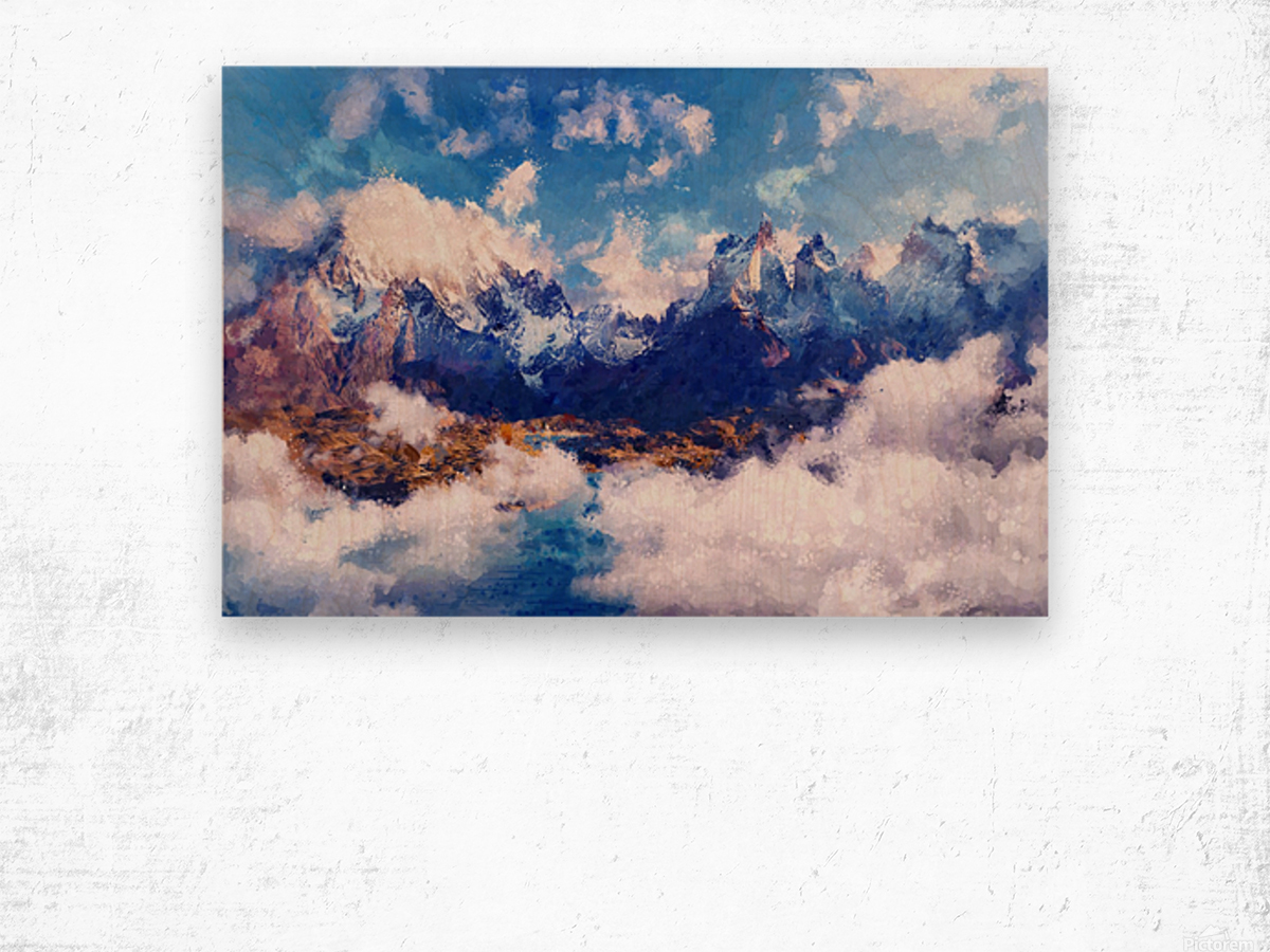 Mountains Artwork II Wood print