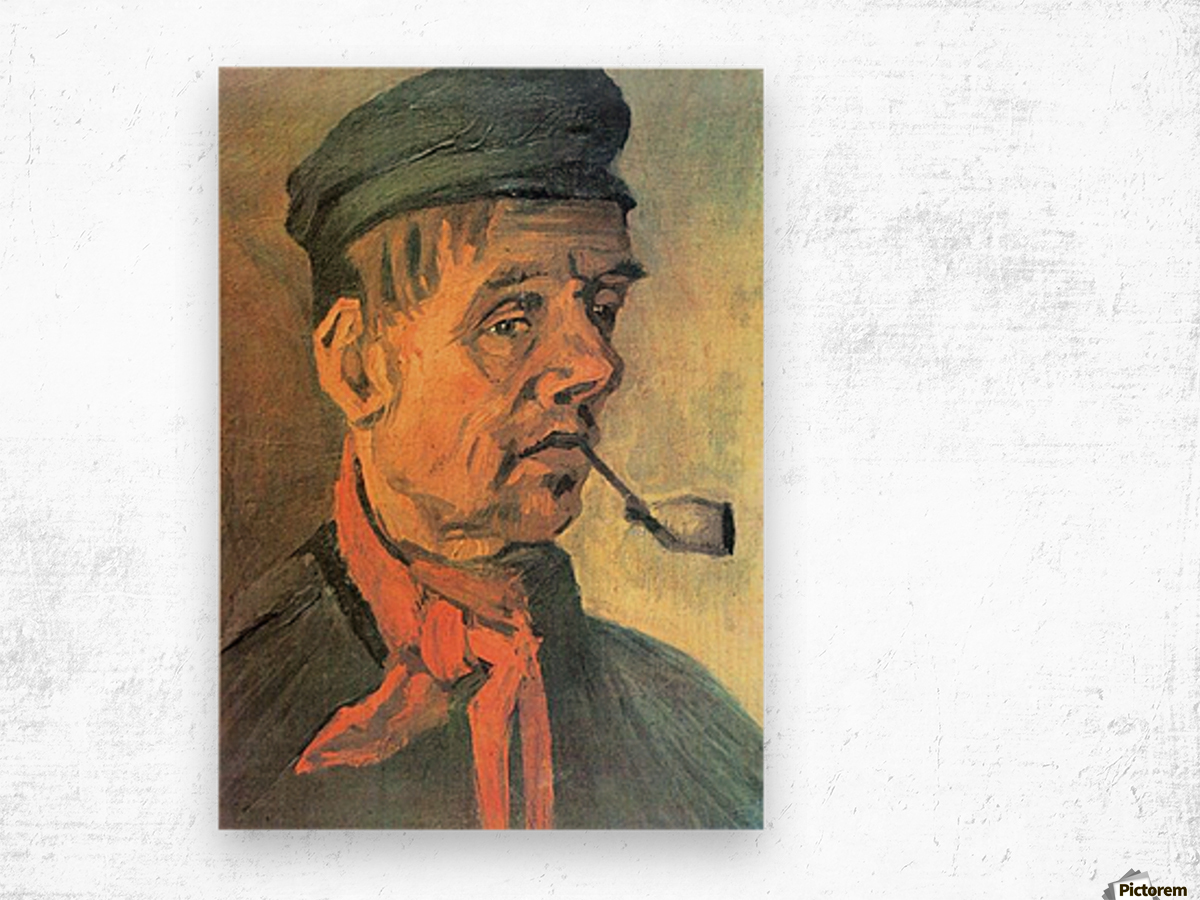 Head of a farmer with a clay pipe by Van Gogh Wood print