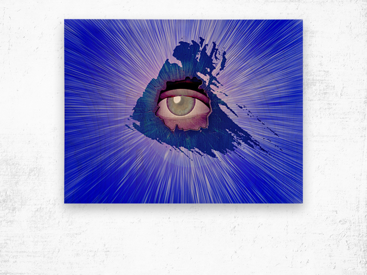 Eye behind wall crack Wood print