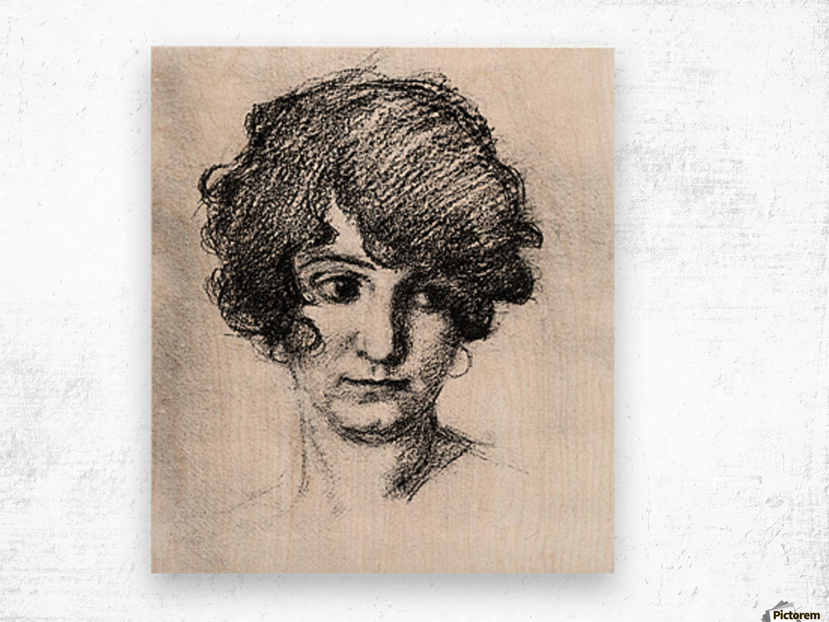 Head of the daughter of the artist, Lorli  by Albin Egger-Lienz Wood print