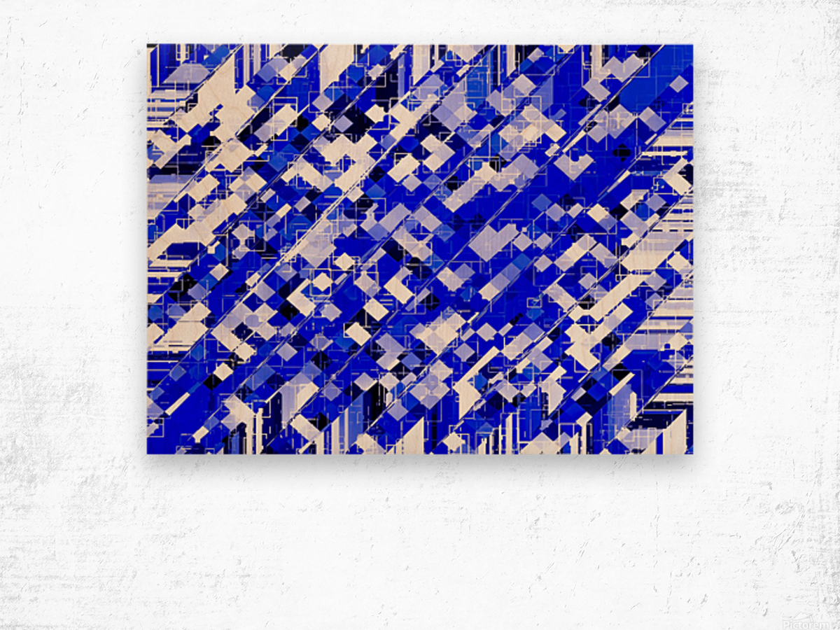 geometric square pixel pattern abstract background in blue Wood print