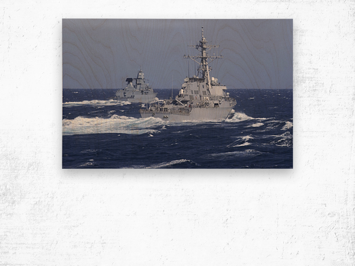 USS Carney practices diversion tactics with the German frigate Sachsen. Wood print
