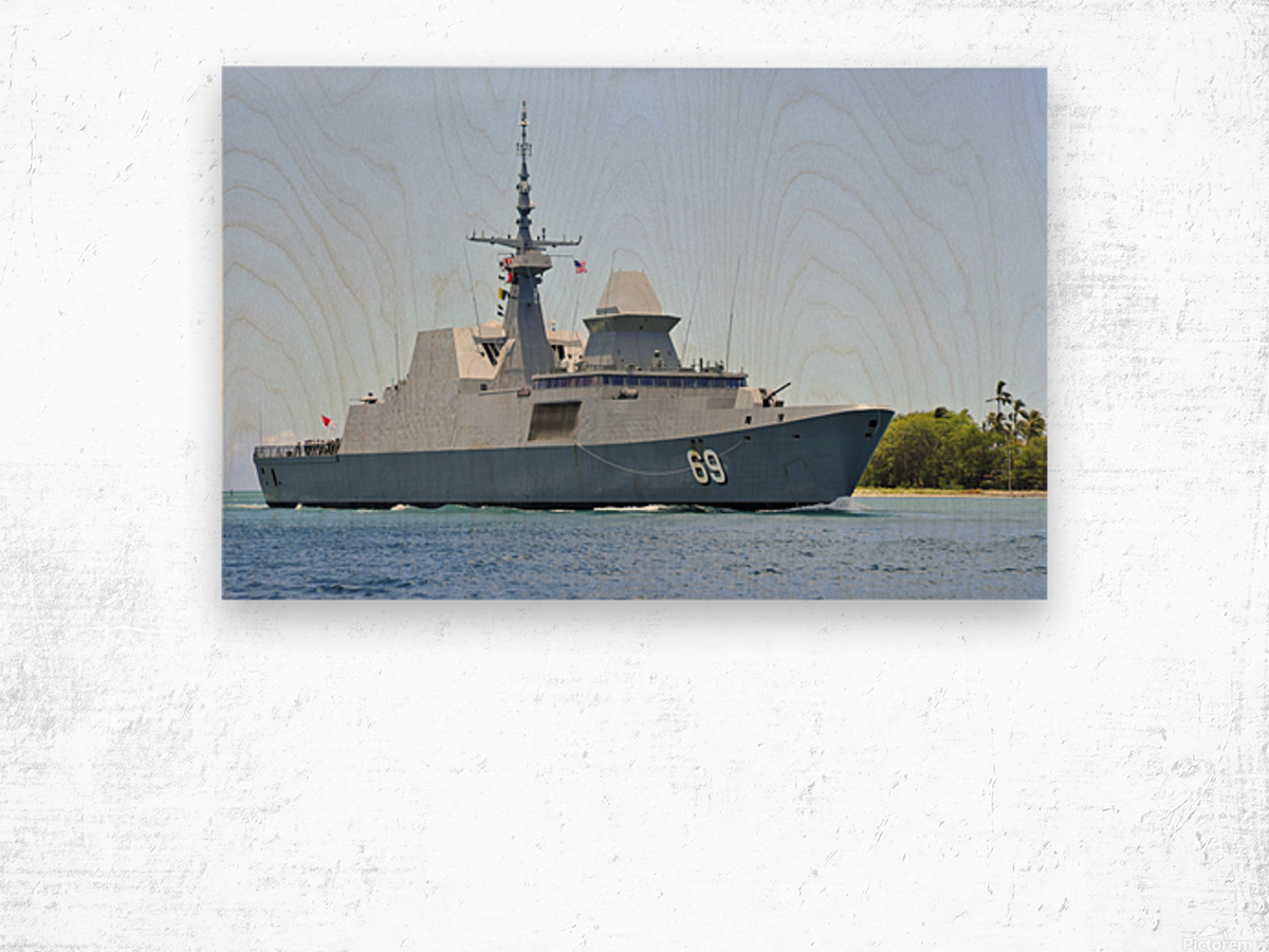 The Singapore frigate RSS Intrepid. Wood print