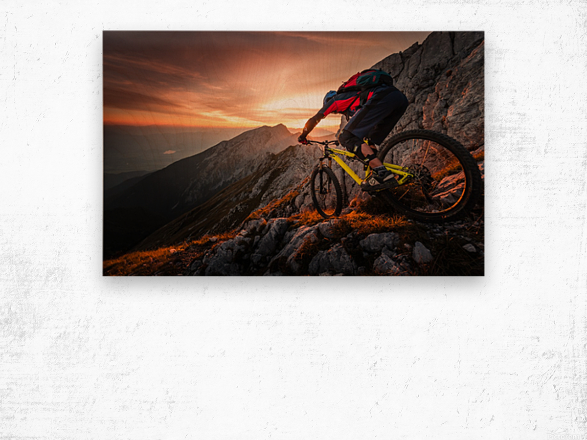 Golden hour high alpine ride Wood print