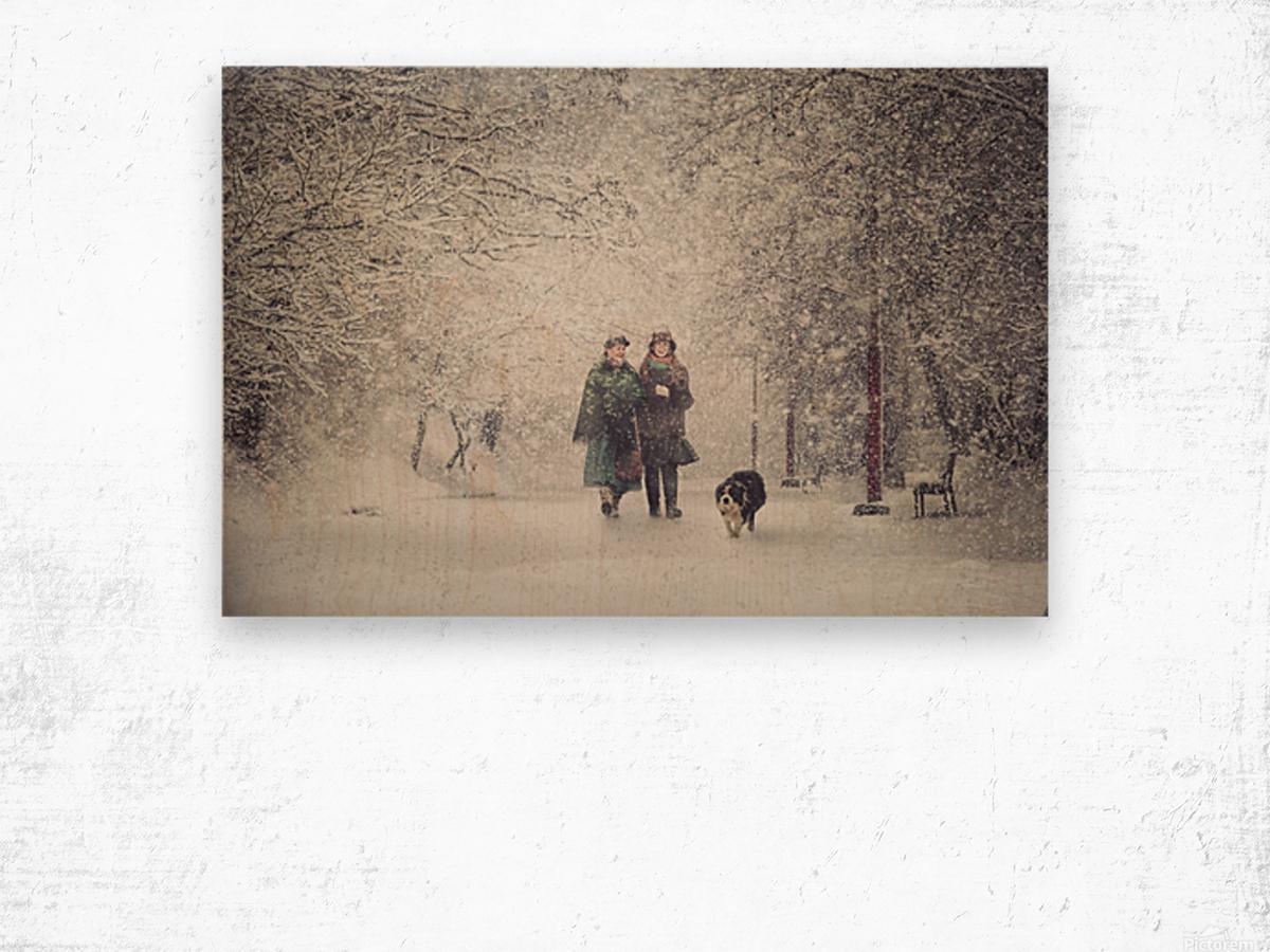 Snow storm charm Wood print