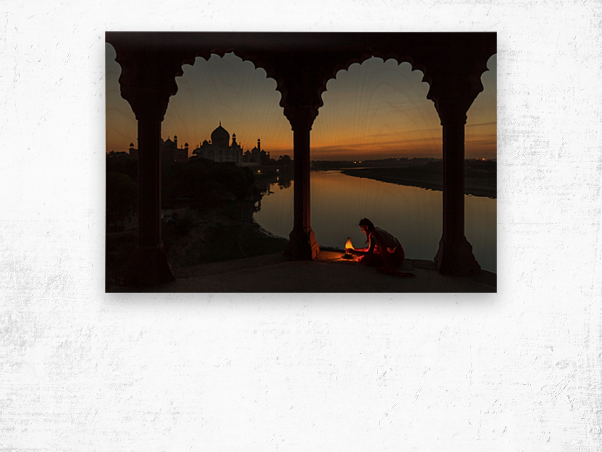 Illuminating the Taj Wood print
