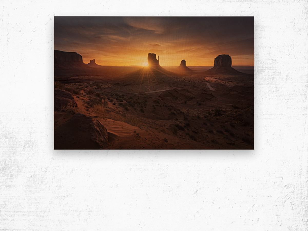 Monument Sunrise. Wood print