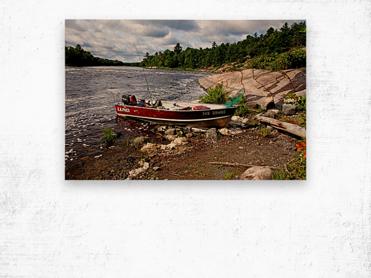 Fishing And Exploring Wood print