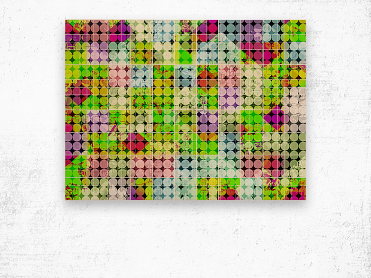 geometric square and circle pattern abstract in green pink Wood print